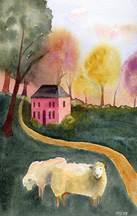 watercolor of sheep in a pasture