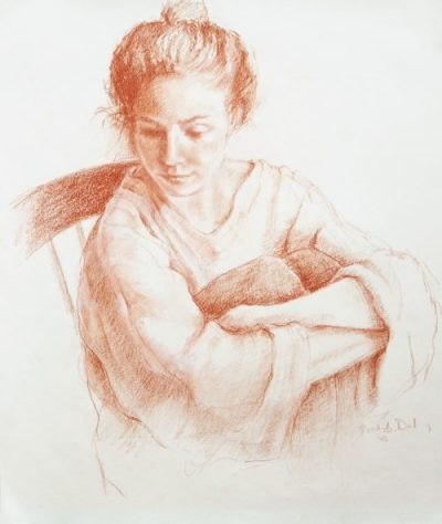 sepia drawing of young woman