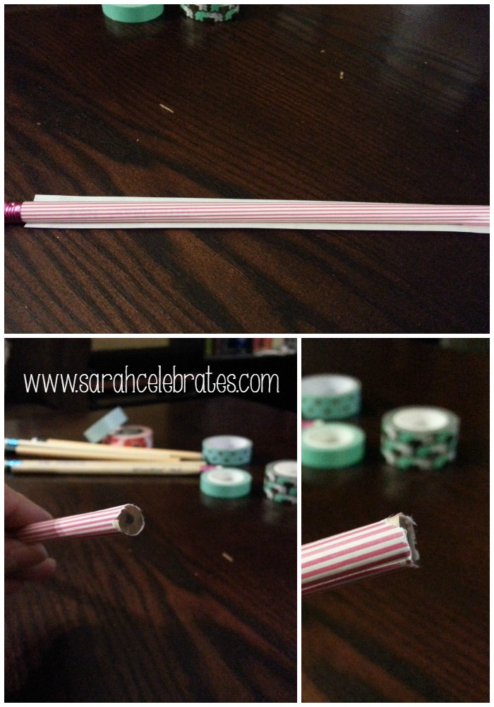 Washi Tape Pencils - Apply Tape to Other Half of Pencil