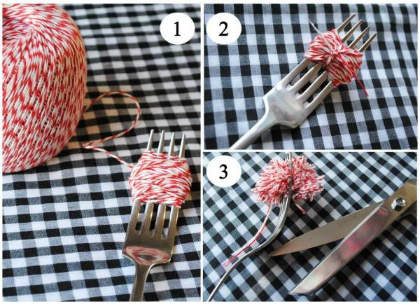 Pom pom tutorial - domestikatedlife - fork method