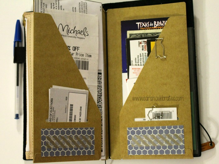 Way Cool Wallet - Original Midori Travelers Notebook As A Wallet, inside of kraft folder| Sarah Celebrates