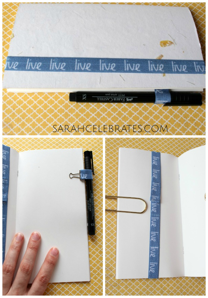 DIY Travelers Notebook Accessories - Notebook with elastic bookmark and binder clip pen loop | Sarah Celebrates
