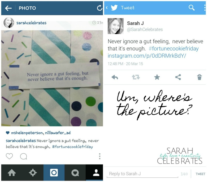 Tale of Two Images - Instagram Image Using Share To Twitter | Sarah Celebrates