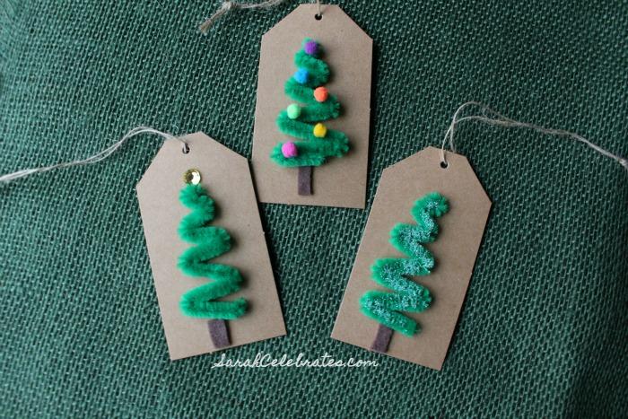 DIY Christmas Tags-Furry Stem Trees | Sarah Celebrates #30MinuteCrafts