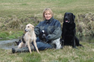 Sarah with four of the pack. Can you spot Seamus?