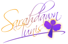 Sarahdawn Tunis signature with angel logo
