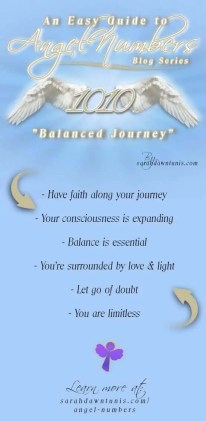 An Easy Guide to Angel Numbers. Balanced Journey: Angel Number 1010 by sarahdawntunis.com