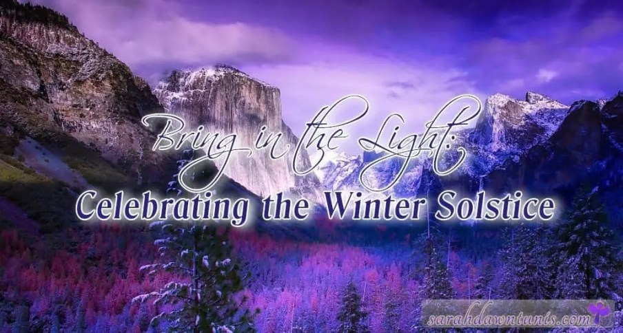 Purple Mountain Scene at dusk with the title Bring in the Light: Celebrating the Winter Solstice blog by sarahdawntunis.com