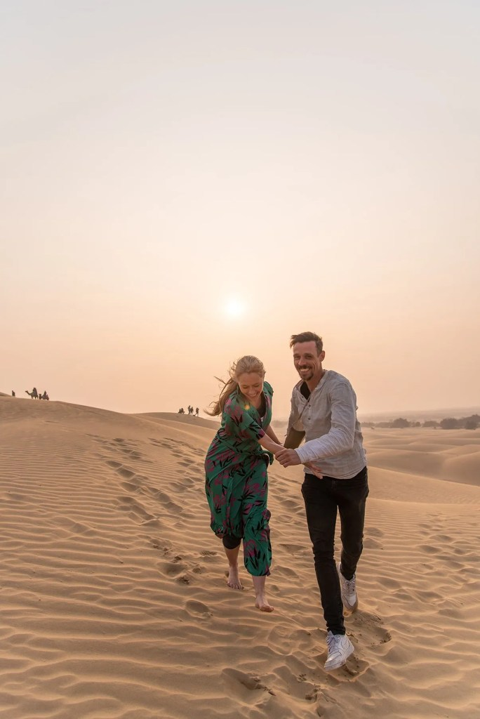 Couple in desert in Jaisalmer