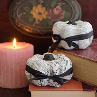 Black and White Decoupage Pumpkins