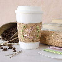Embroidered Coffee Cup Cozy