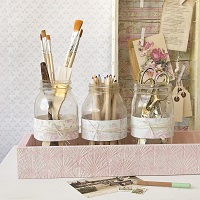 Shabby Chic Desk Decor Part 2: Desktop Storage with Mason jars by Sarah Donawerth
