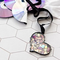 Punk Rock Broken CD Mosaic Heart Bezel by Sarah Donawerth
