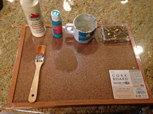 Supplies for $3 Cork Board Makeover