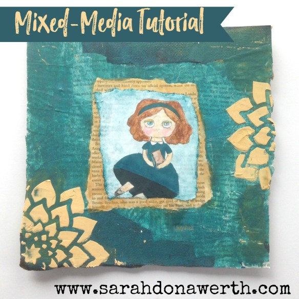 Girl with Book Mixed-Media Canvas