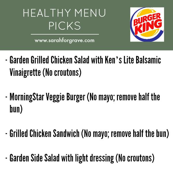 Healthy Restaurant Picks Fast Food Sarah Forgrave