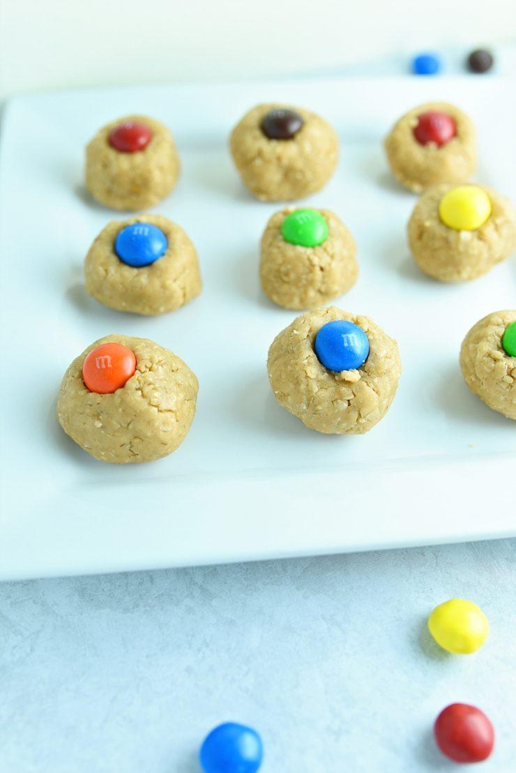 M&M No Bake Peanut Butter Bites