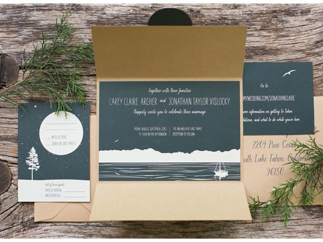 Lake Tahoe Custom Wedding Invitations