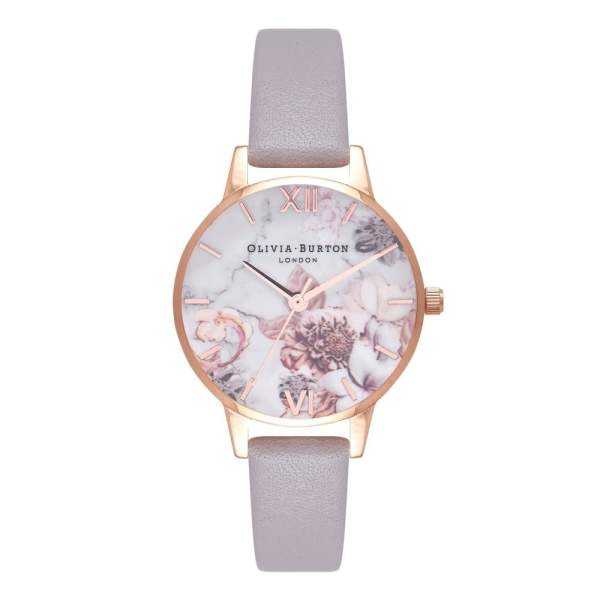 Olivia Burton Marble Floral Grey Lilac & Rose Gold Watch ...