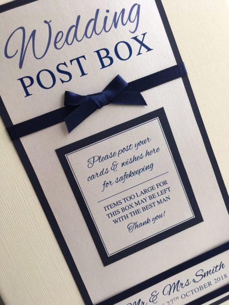 Satin post box in navy