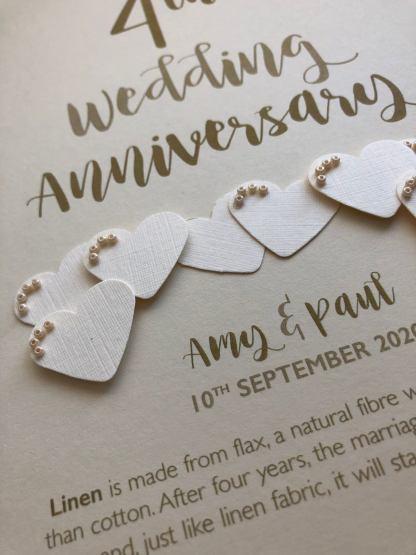 Linen (4th) anniversary card