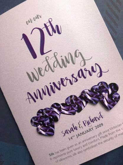Silk wedding anniversary card