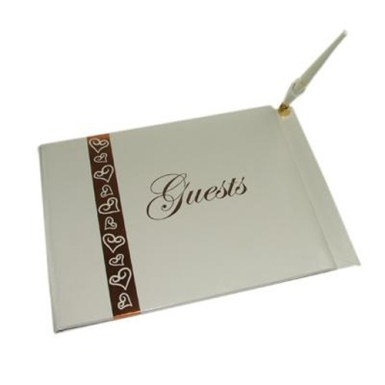 guestbook with pen - gold