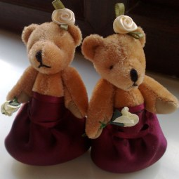 "4"" bridesmaid bears dressed to match your attendants"