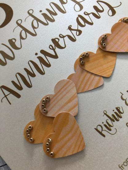 card hearts with realistic wood effect