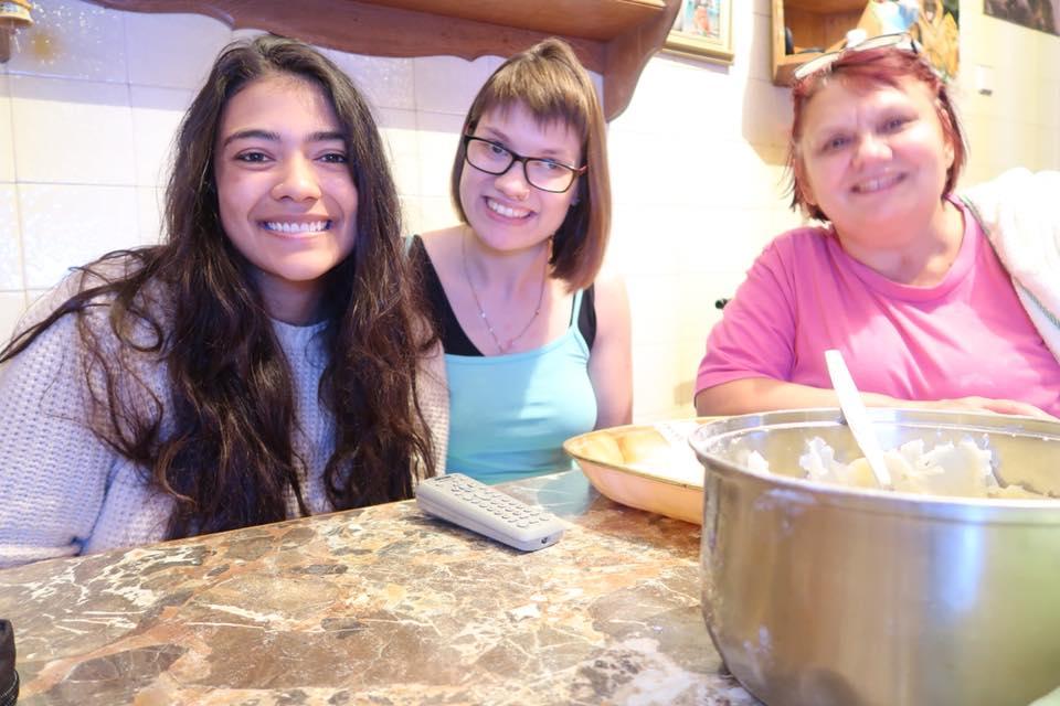 three women sitting together