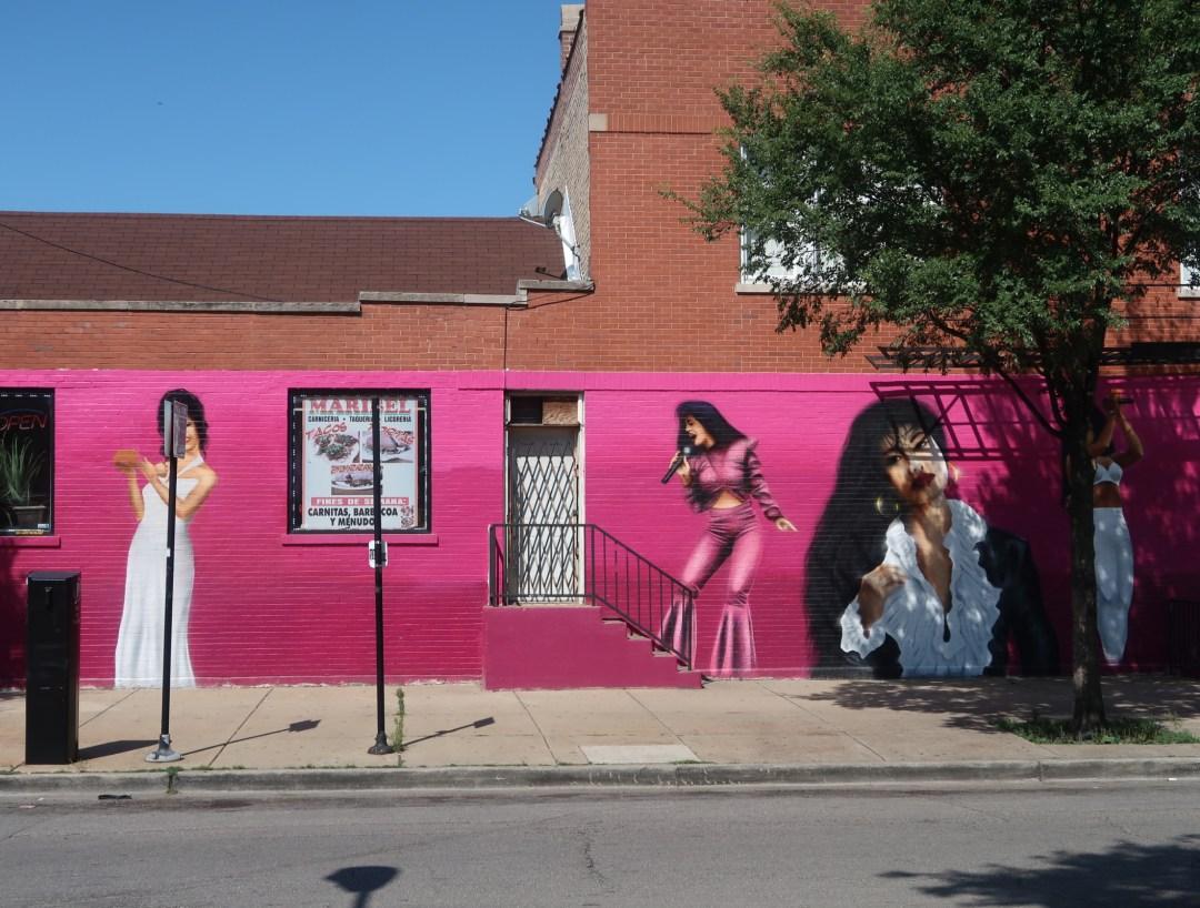 pink mural of Selena Quintanilla