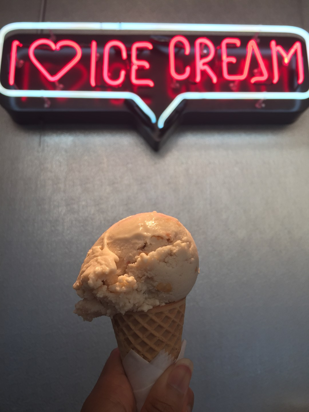 ice cream with neon sign
