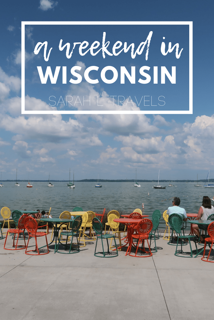 "lake with sailboats and ""A Weekend in Wisconsin"" written on the photo"