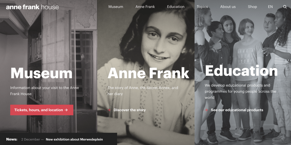 Anne Frank House in Amsterdam: museum website