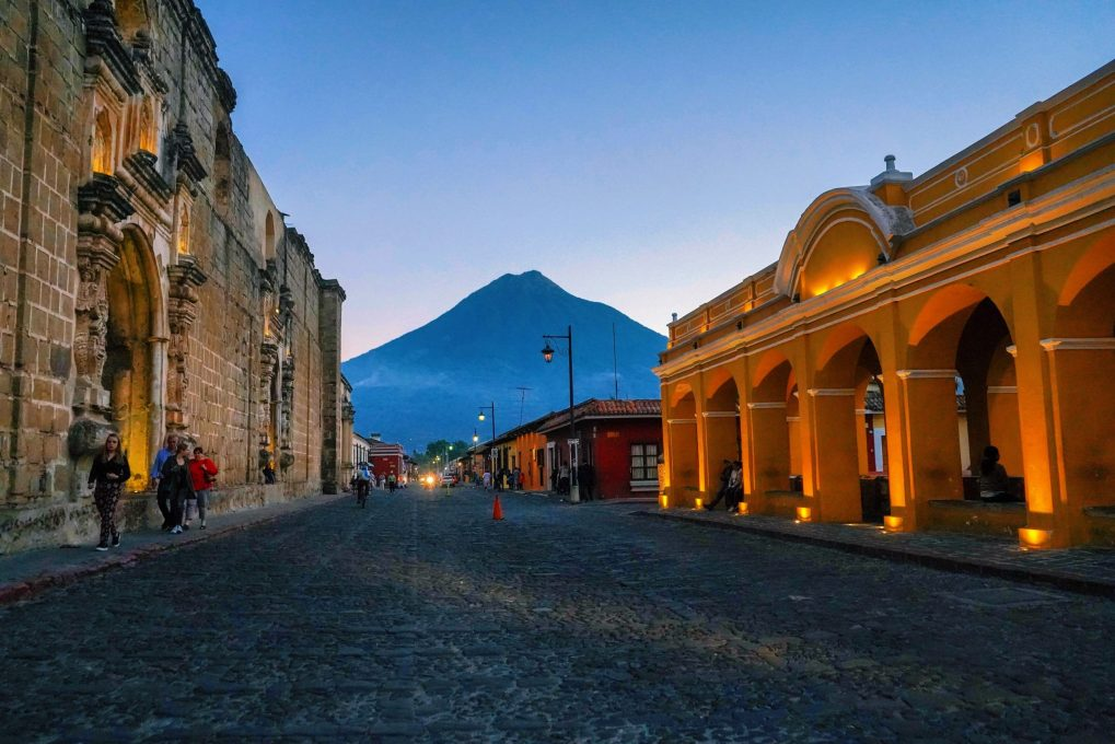Volcano and small town in Guatemala