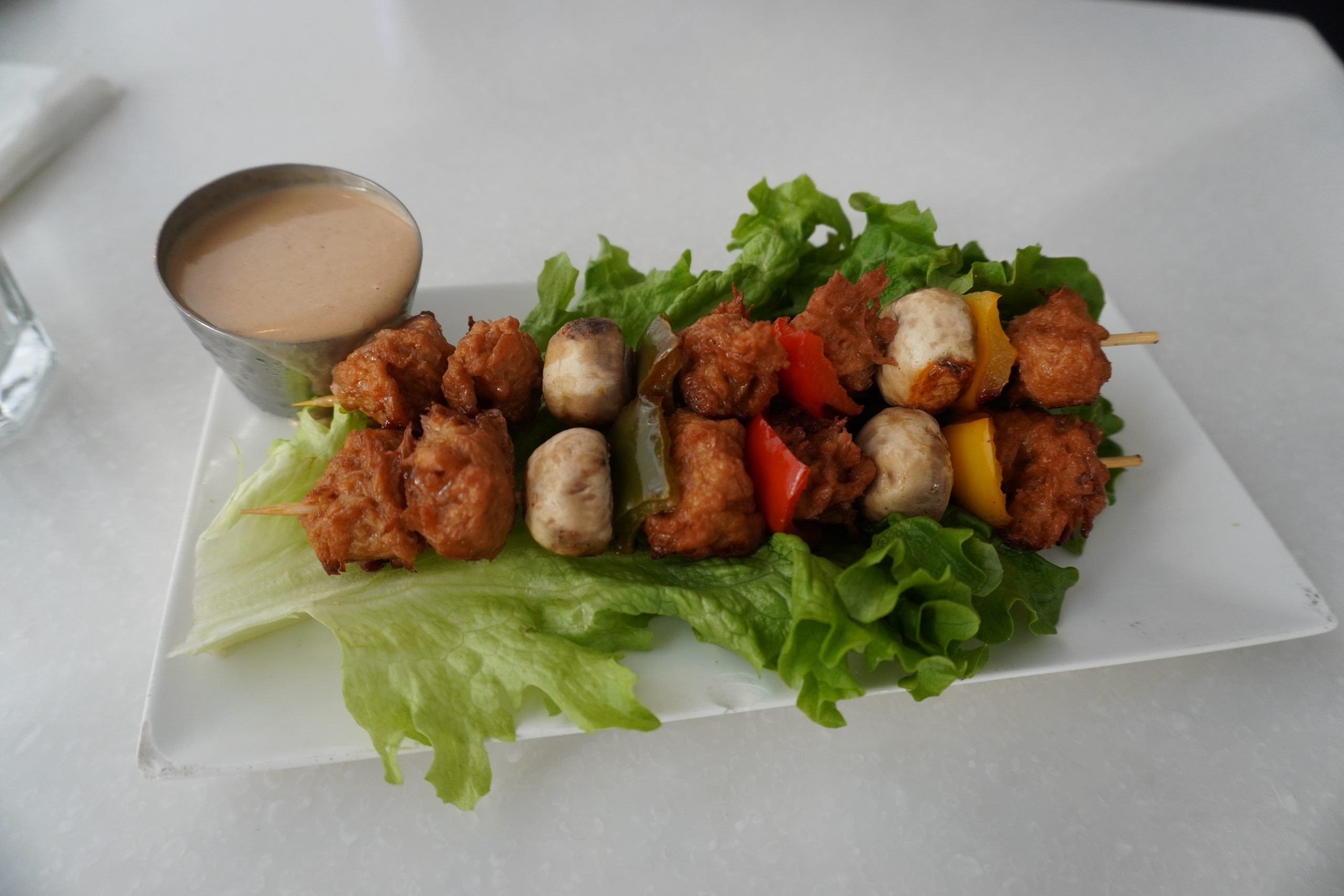 vegan Thai chicken and veggie skewer from Ananda Fuara