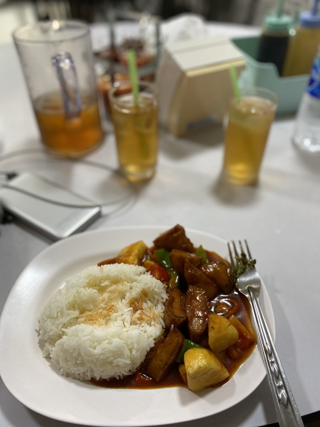 Sweet n sour vegan chicken and veggies with rice from Ruyi Vegetarian, Bangkok, Thailand