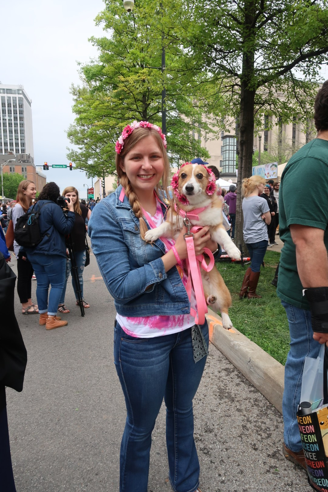 girl with dog at the Nashville Cherry Blossom Festival 2019