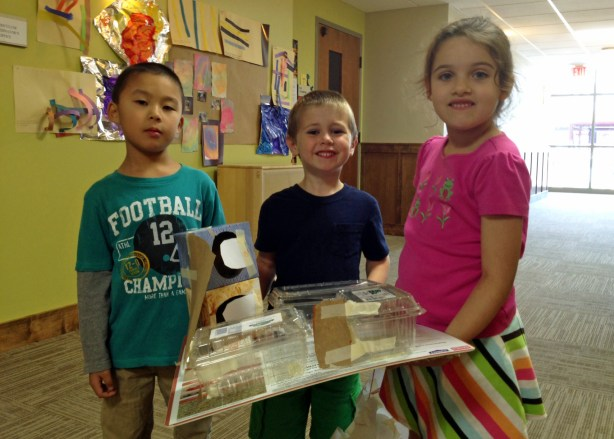 Colt and friends with Colt's diorama of the school