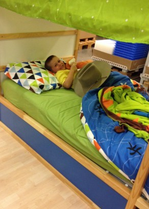 Bed-testing at IKEA.