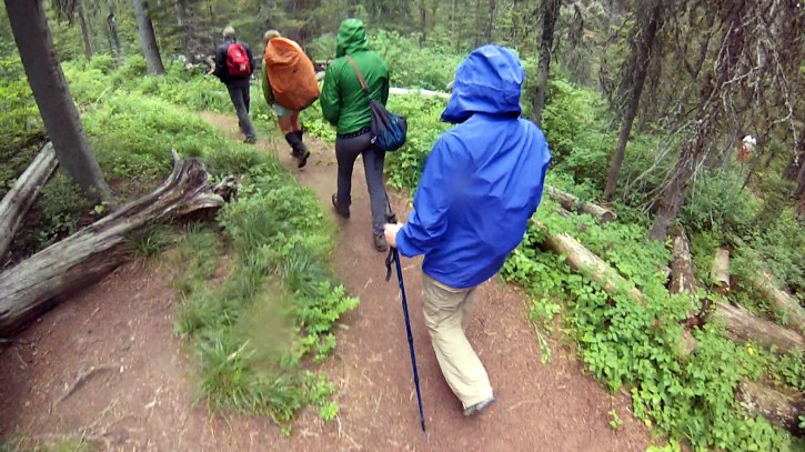 Day hikers in rain gear.
