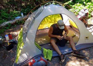 Making camp at Elizabeth Lake