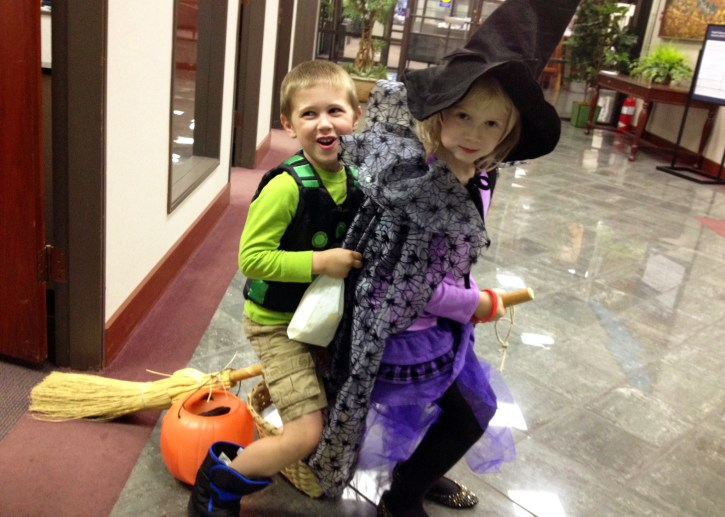 Sharing a ride. We were hiding from the cold inside the bank.