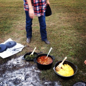 Greens, cornbread, and venison stew.