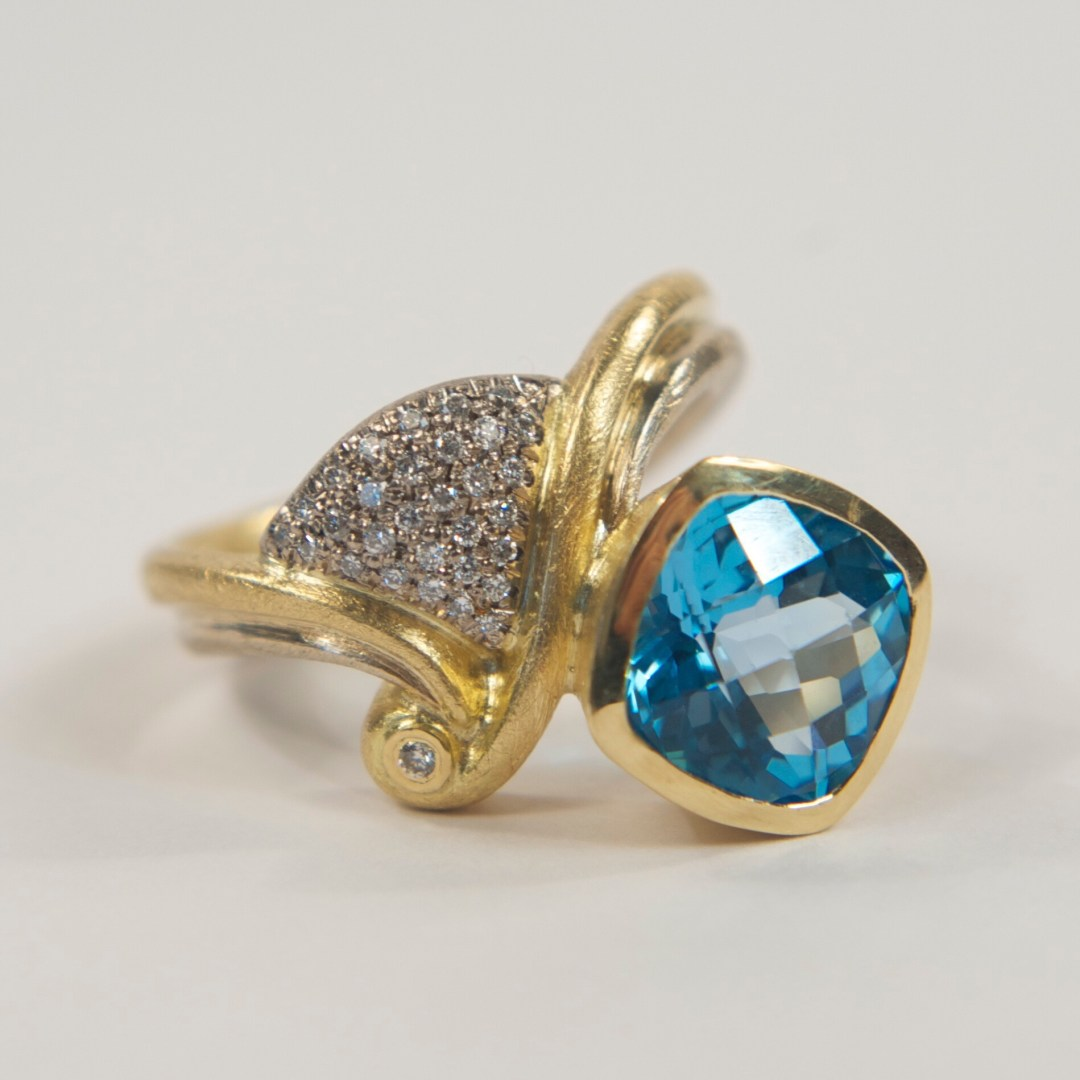 Gold Diamond & Blue Topaz Cocktail Ring