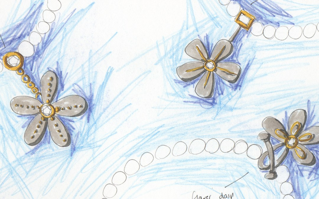 Pearl Necklace Drawings with Flower Clasps