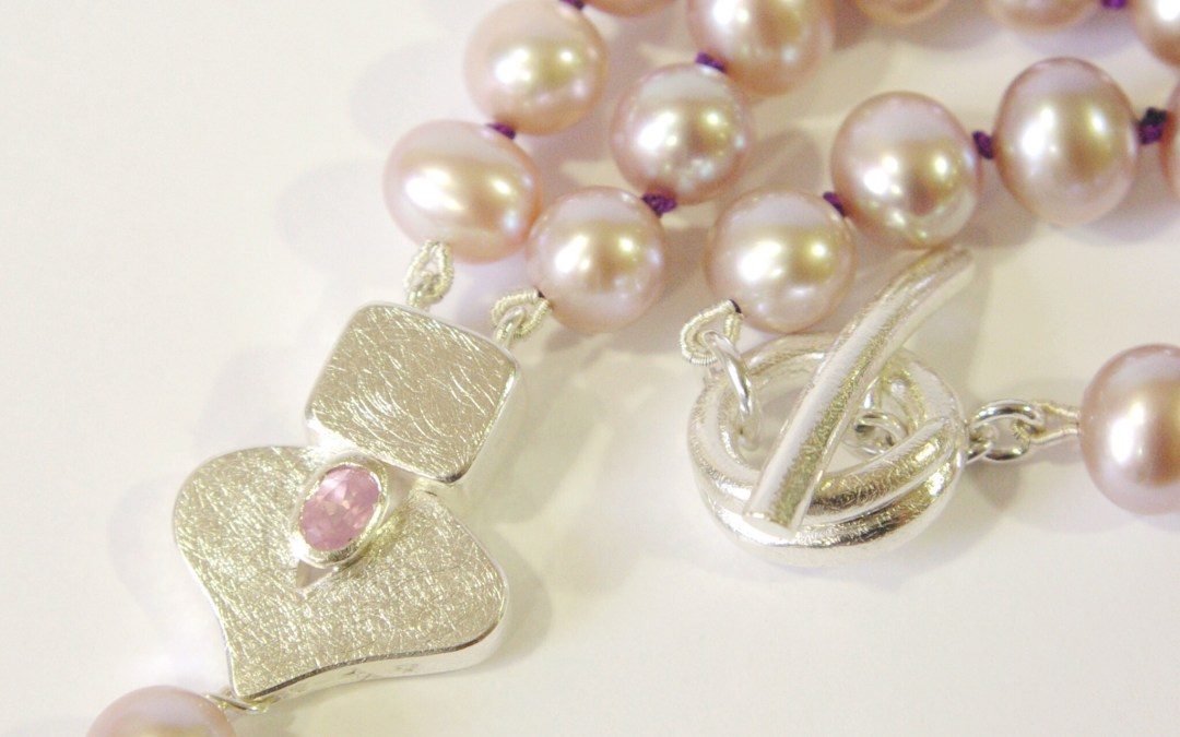 Pink Pearl Frond Leaf Necklace with Pink Spinel & Dangly Pearl
