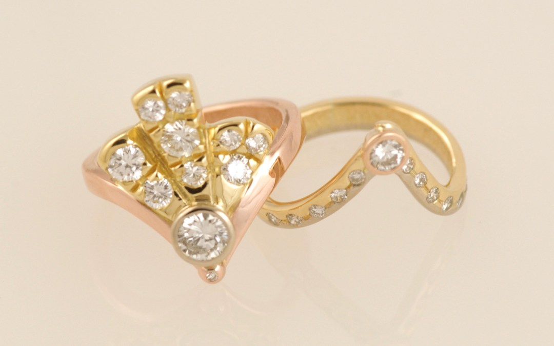 Alices Three Colour Gold Art-Deco Diamond Fan Rings