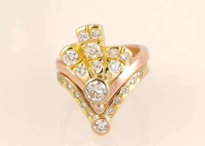 Alices Three Colour Gold Art-Deco Diamond Fan Ring Set, Part 28