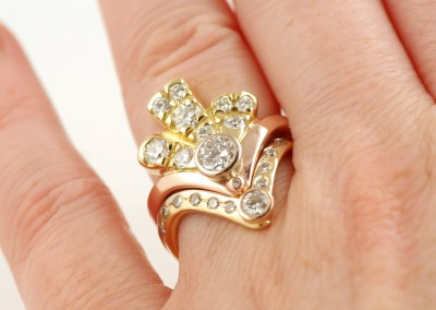 Alices Three Colour Gold Art-Deco Diamond Fan Ring Set, Part 22
